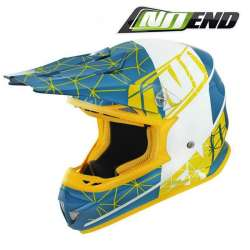 CASQUE CROSS NOEND ORIGAMI ACID BLEU/JAUNE SC15 SCOOTER QUAD