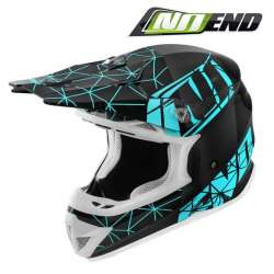 CASQUE CROSS NOEND ORIGAMI LIGHT BLUE NOIR/BLEU SC15 SCOOTER QUAD