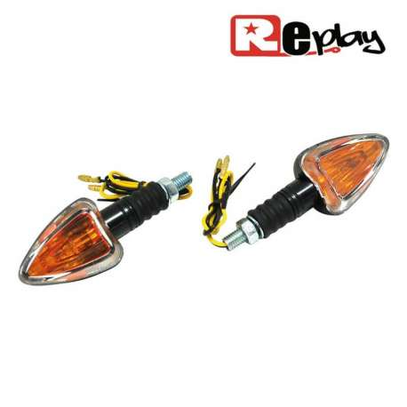 2 CLIGNOTANTS REPLAY MINI TRIANGLE UNIVERSEL ORANGE/NOIR CABOCHON MAXISCOOTER
