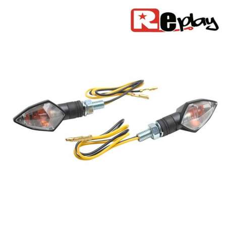 2 CLIGNOTANTS REPLAY MINI DIAMANT UNIVERSEL TRANSPARENT/NOIR MAXISCOOTER