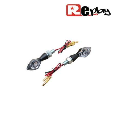 2 CLIGNOTANTS REPLAY DIAMANT UNIVERSEL TRANSPARENT/NOIR LEDS MAXISCOOTER