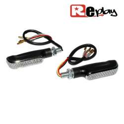 2 CLIGNOTANTS REPLAY FUSE UNIVERSEL TRANSPARENT/NOIR 10 LEDS MAXISCOOTER
