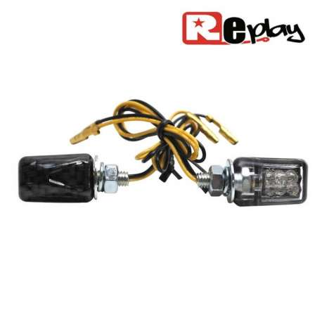 2 CLIGNOTANTS REPLAY MICRO UNIVERSEL TRANSPARENT/CARBONE 6 LEDS MAXISCOOTER