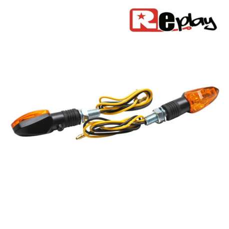 2 CLIGNOTANTS REPLAY MICRO FLECHE UNIVERSEL ORANGE/NOIR A AMPOULE MAXISCOOTER