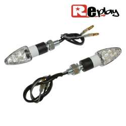 2 CLIGNOTANTS REPLAY MICRO FLECHE UNIVERSEL TRANSPARENT/BLANC 8 LED MAXISCOOTER