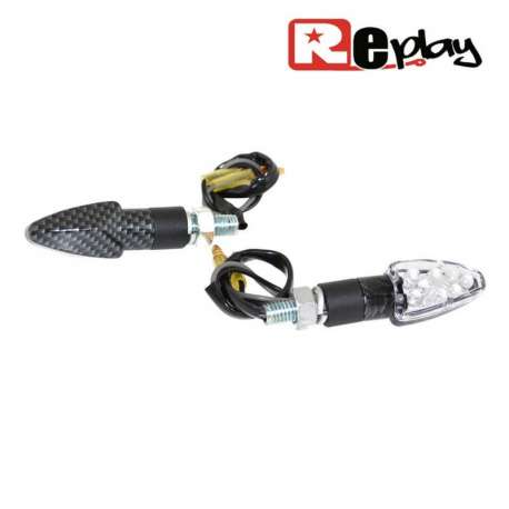 2 CLIGNOTANTS REPLAY MICRO FLECHE UNIVERSEL TRANSPARENT/CARBONE LED MAXISCOOTER