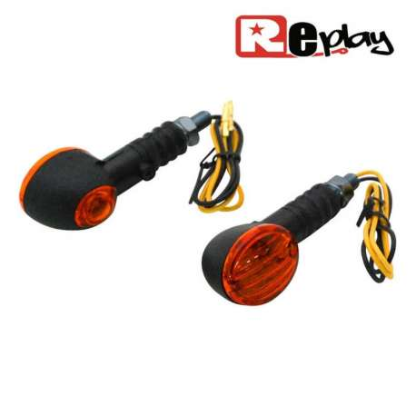 2 CLIGNOTANTS REPLAY MICRO OVAL UNIVERSEL ORANGE/NOIR AVEC TEMOIN MAXISCOOTER