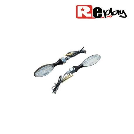 2 CLIGNOTANTS REPLAY MICRO OVAL UNIVERSEL TRANSPARENT/NOIR 9 LEDS MAXISCOOTER