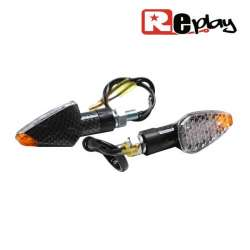 2 CLIGNOTANT REPLAY MINI PYRAMIDE UNIVERSEL TRANSPARENT/CARBONE LED MAXISCOOTER