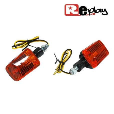2 CLIGNOTANTS REPLAY MINI RECTANGLE UNIVERSEL ORANGE/CARBONE MAXISCOOTER