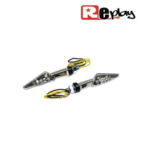 2 CLIGNOTANTS REPLAY MINI FLECHE UNIVERSEL BLANC/CHROME A LED MAXI SCOOTER