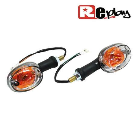 2 CLIGNOTANTS REPLAY OVALE UNIVERSEL TRANSPARENT/NOIR BASE LONGUE MAXI SCOOTER