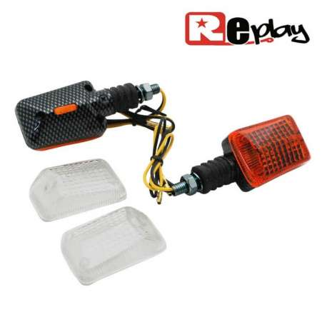 2 CLIGNOTANTS REPLAY RECTANGLE UNIVERSEL ORANGE/CARBONE+CABOCHONS MAXI SCOOTER