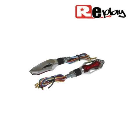 2 CLIGNOTANTS REPLAY X-RUN 1 UNIVERSEL TRANSPARENT/CARBONE 6 LEDS MAXI SCOOTER