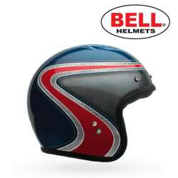 CASQUE MOTO BELL CUSTOM 500 AS SPECIAL EDITION VINTAGE BLEU TAILLE XS AU XXL