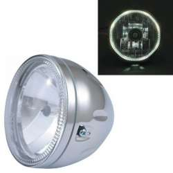 FEU PHARE OPTIQUE MOTO CHROME UNIVERSEL ANGEL EYES VEILLEUSE LED Ø146 H4 FIX BAS