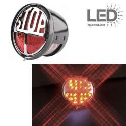FEU ARRIERE A LED STOP NOIR CHROME Ø 68 x 47 mm UNIVERSEL MOTO SCOOTER QUAD