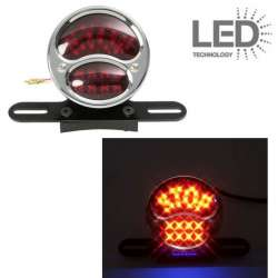 FEU ARRIERE A LED STOP NOIR CHROME Ø 98 x 63 mm UNIVERSEL MOTO SCOOTER QUAD