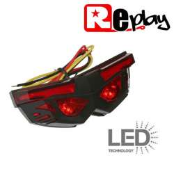 FEU ARRIERE LED 12V 2W / 3W / 2W ROUGE NOIR 86 x 30 x 32 mm MOTO SCOOTER QUAD