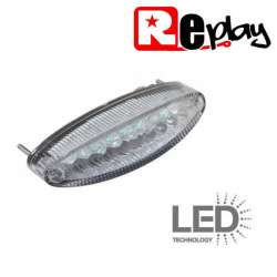 FEU ARRIERE LED 12V TRANSPARENT 109 x 29 x 34 mm MOTO SCOOTER QUAD MECABOITE