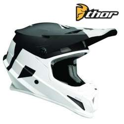CASQUE CROSS TOUT TERRAIN THOR SECTOR LEVEL NOIR / BLANC FINITION MAT