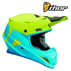 CASQUE CROSS TOUT TERRAIN THOR SECTOR LEVEL BLEU / VERT FINITION MAT