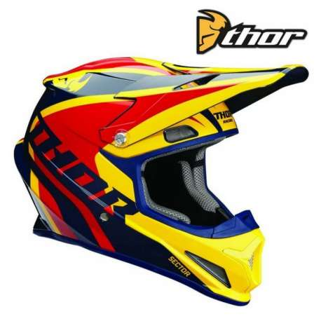 CASQUE CROSS TOUT TERRAIN THOR SECTOR LEVEL BLEU MARINE/JAUNE/ ROUGE BRILLANT