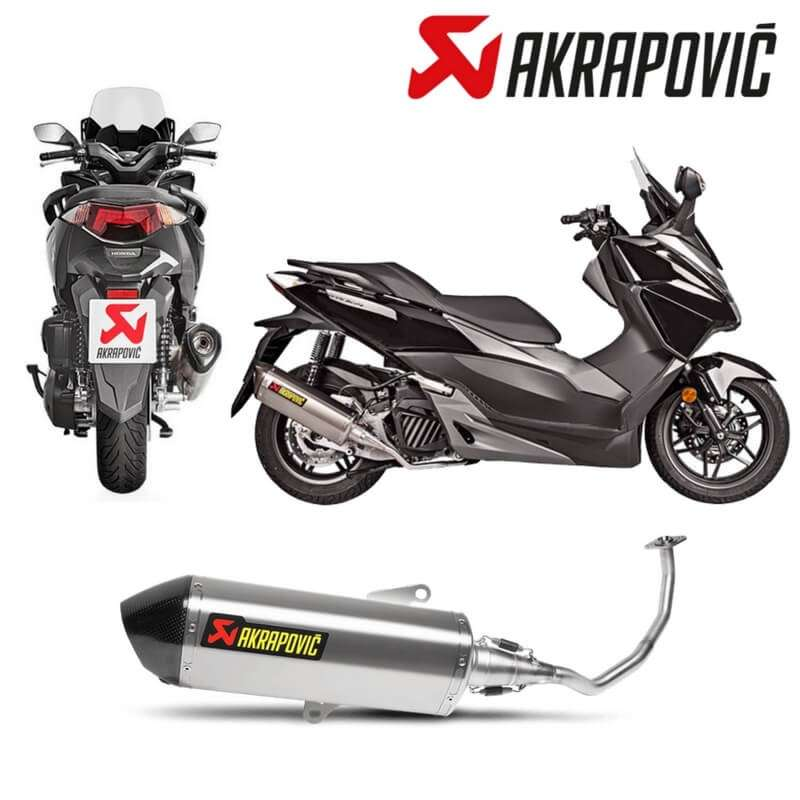 ligne complete echappement akrapovic inox maxi scooter honda forza 125 15 16 vospieces2roues. Black Bedroom Furniture Sets. Home Design Ideas