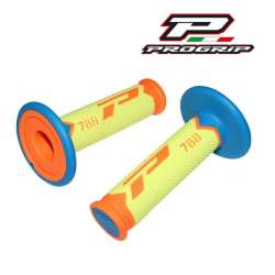 2 REVETEMENTS POIGNEE PROGRIP 788 ORANGE FLUO/BLEU/JAUNE MOTO CROSS MX ENDURO