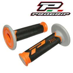2 REVETEMENTS POIGNEE PROGRIP 788 ORANGE/NOIR/GRIS 115MM MOTO CROSS MX ENDURO