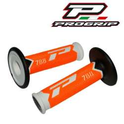 2 REVETEMENT POIGNEE PROGRIP 788 BLANC/ORANGE FLUO/NOIR 115MM MOTO CROSS MX ENDURO