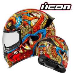 CASQUE INTEGRAL MOTO ICON AIRFRAME PRO BARONG ROUGE MULTICOULEUR