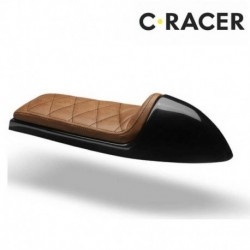 SELLE UNIVERSELLE CAFE RACER C. RACER SCR1 CUIR SYNTHETIQUE MARRON COQUE NOIRE