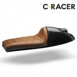 SELLE UNIVERSELLE CAFE RACER C. RACER SCR2.1 CUIR SYNTHETIQUE MARRON COQUE NOIRE