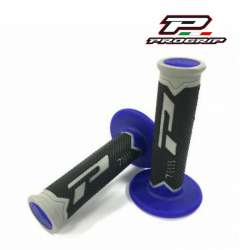 2 REVETEMENTS POIGNEE PROGRIP 788 GRIS/BLEU/NOIR 115MM MOTO CROSS MX ENDURO