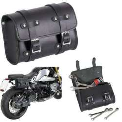 SACOCHE RECTANGLE 3 L CUIR DE BUFFLE NOIR TROUSSE OUTILS MOTO CUSTOM CHOPPER