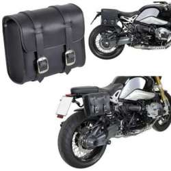 SACOCHE RECTANGLE 4,5 L CUIR DE BUFFLE NOIR TROUSSE OUTILS MOTO CUSTOM CHOPPER