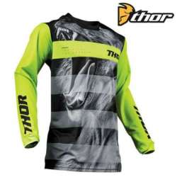 MAILLOT MOTO CROSS ENFANT THOR PULSE SAVAGE BIG KAT NOIR/LIME