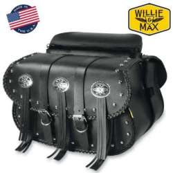 2 SACOCHES CAVALIERES 2 X 10 L WARRIOR WILLIE & MAX MOTO CUSTOM CUIR NOIR