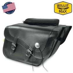2 SACOCHES CAVALIERES 2X19 L FLEETSIDE DELUXE WILLIE & MAX MOTO CUSTOM CUIR NOIR
