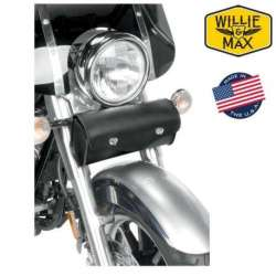 SACOCHE DE FOURCHE 11,5 L REVOLUTION WILLIE & MAX MOTO CUSTOM CUIR NOIR