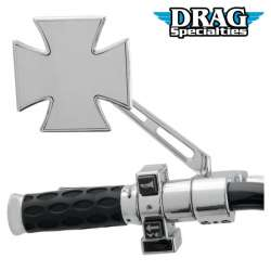 RETROVISEUR MOTO DROIT OU GAUCHE CHROME MALTAIS SUPPORT PERCÉ DRAG SPECIALTIES