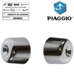 2 EMBOUTS DE GUIDON CHROME ORIGINE PIAGGIO MP3 125 250 300 400 500 DROIT GAUCHE