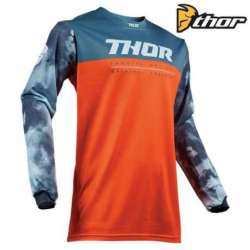 MAILLOT MOTO CROSS ENFANT THOR PULSE AIR ROUGE ORANGE / SLATE BLEU