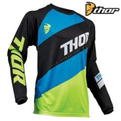 MAILLOT MOTO CROSS ENFANT THOR SECTOR SHEAR ACID BLEU/NOIR