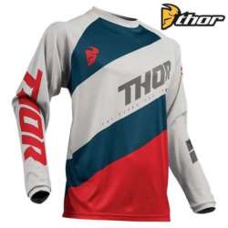 MAILLOT MOTO CROSS ENFANT THOR SECTOR SHEAR ACID GRIS CLAIR / ROUGE