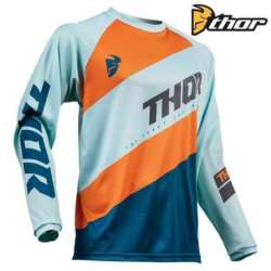 MAILLOT MOTO CROSS ENFANT THOR SECTOR SHEAR ACID SKY/SLATE BLEU / ORANGE