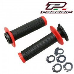 REVÊTEMENT POIGNÉE PROGRIP 708 FIXATION LOCK ON NOIR/ROUGE MOTO CROSS ENDURO MX