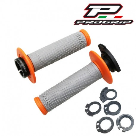 REVÊTEMENT POIGNÉE PROGRIP 708 FIXATION LOCK ON GRIS/ORANGE MOTO CROSS ENDURO MX