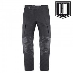 Pantalon moto homme cuir/textible denim ICON 1000 Varial noir